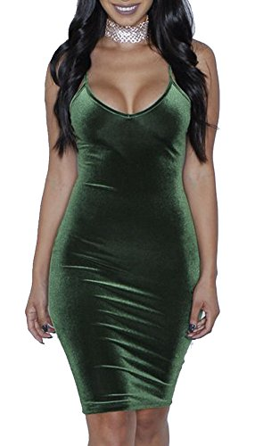 Sexy Low V Neck Spaghetti Strap Dress Bodycon Club Dresses for Women S