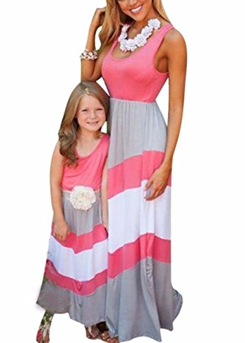 Summer Cute Mommy and Me Boho Striped Chevron Maxi Dresses (2T, Pink)