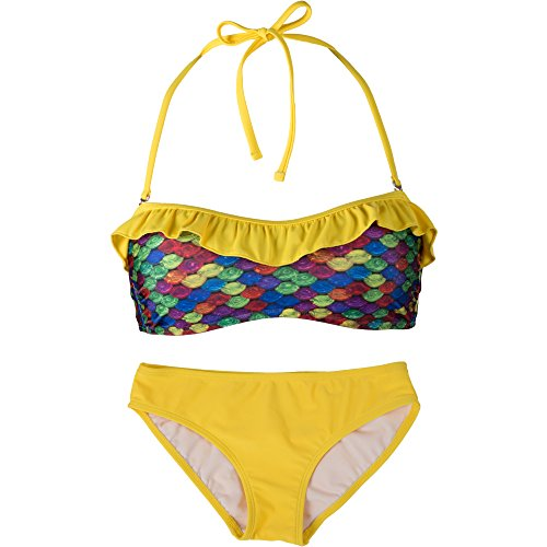 Fin Fun - Mermaidens - Bikini bandeau para mujer - Estampado de escamas - Estilo sirena Arrecife arcoíris/amarillo