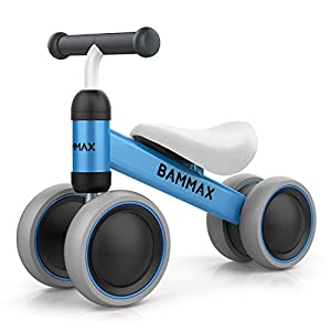 Bammax Baby Balance Bike, Baby Bicycle for 1 Year Old, Riding Toys for 1 Year Old, No Pedal Infant 4 Wheels Baby Walker…