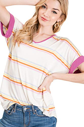 Auliné Collection Womens Oversized Color Block Short Sleeve Knit Top Shirt Tunic - Multi Stripe Rich Lilac Small