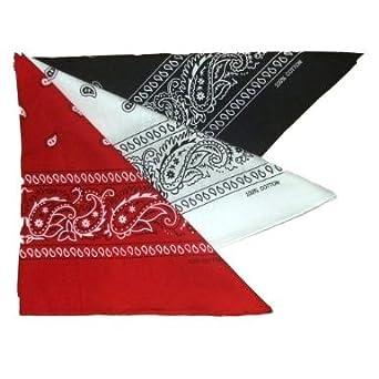 f7c425dcd8a2 Lot de 3 foulard bandana américain tour de cou paisley USA - Rouge + noir +