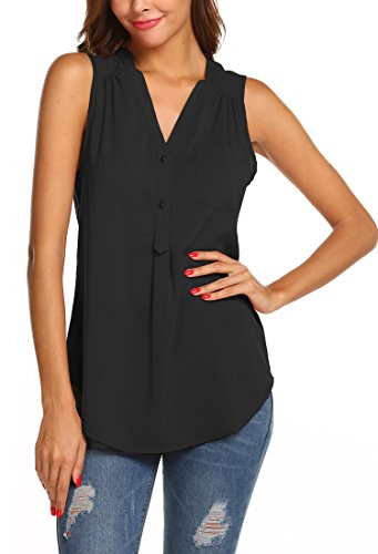 Hount Womens Chiffon Sleeveless Shirt Button Casual Tunic Tank Tops with Pockets