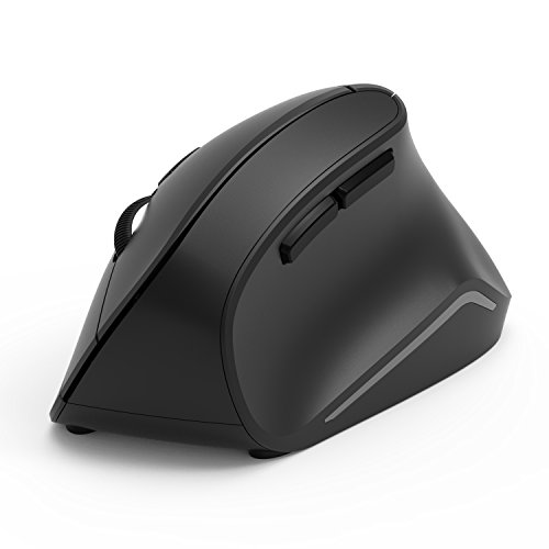 Adjustable Mouse - Vertical Mouse, Jelly Comb Ergonomic Wireless Mouse 2.4GHz Optical Vertical Mice with 3 Adjustable DPI 800/1200/1600 6 Buttons, for Laptop, PC, Desktop etc, Black