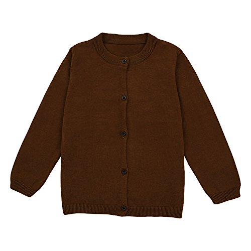LOSORN ZPY Baby Boys Girls Button-Down Cardigan Toddler Cotton Knit Sweater Chocolate 120 - Big Brown Apparel Kids Chocolate