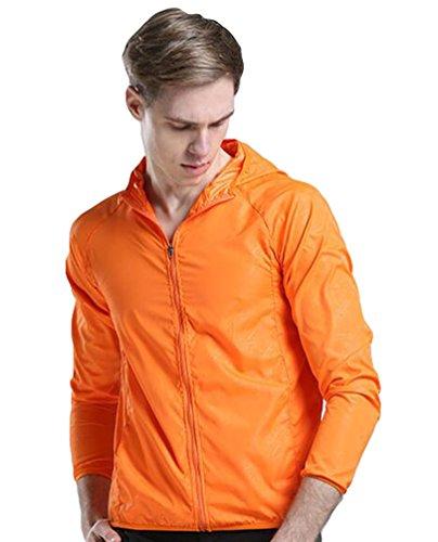 ZKOO Delgado Chaqueta De Deporte Amantes al Aire Libre Anti-ultravioleta Impermeable Chaqueta Cazadora Ultraligeros Softshell Para Mujer Hombre Naranja
