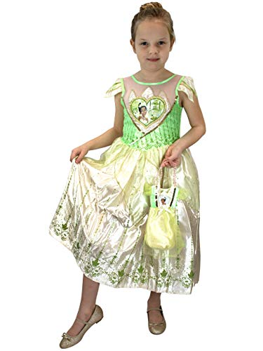 Disney Girls Tiana Dress Up Costume with Bag Size 4 Green -