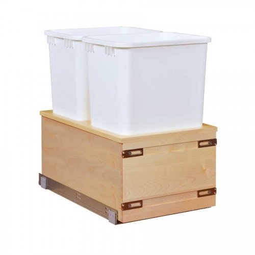 Century Components CASBM14PF-50 Kitchen Pull Out Waste Bin Container - 50 Qt White Double - Baltic Birch - Soft Close Bottom Mount, ()