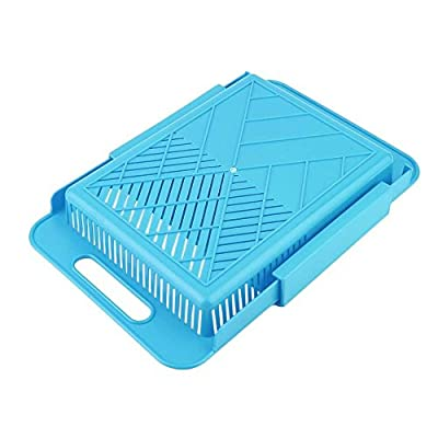 SuperStores 3 Colors Practical Kitchen Vegetable Fruit Cutting Board With Water Tank Kitchen Chopping Block Plastic Antiskid Blocks