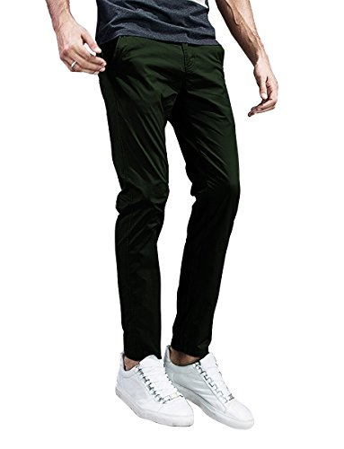 Match Mens Slim-Tapered Flat-Front Casual Pants (32, 8105 Dark Army Green) from Match