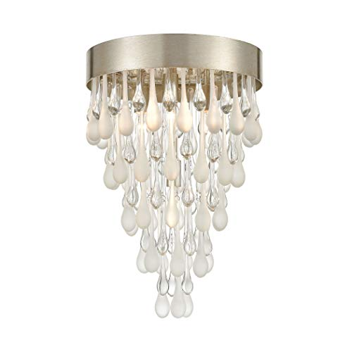 (Elk Lighting 32341/4 Morning 4-Light Silver Leaf with Clear and Frosted Glass Drops Flush Mount,)