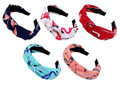 STHUAHE 5PCS Women Girls Handmade Brightly Colored Cross Knot Broadside Hair Hoop Hairband Headband Headwear Hair Accessories