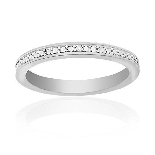 Traditional Greek Dress (Lumineux Diamond Womens Diamond Accent Wedding Band Ring, White Gold & Rhodium Plated Brass, Size 9)