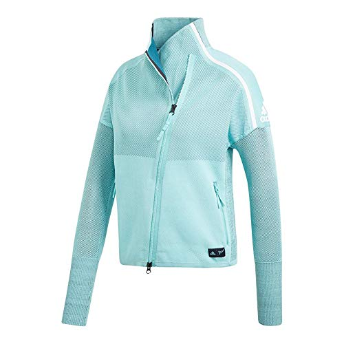 (adidas Women's Z.N.E. Heartracer Parley Jacket, Blue Spirit/Petrol Night (Medium))