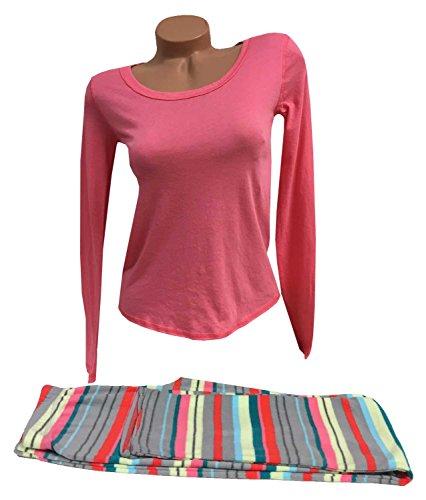 Xhilaration 2-PC Women's Long Sleeves Long Pants Pajama Set Pink X-Small by Xhilaration