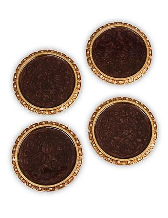 Jay Strongwater Bentley Jeweled Edge Coasters - Set of 4 - Amber by Jay Strongwater