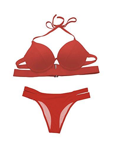 YFFaye Women Solid Triangle Low Waist Metal Accent Two Pieces Bikini Swimsuit (Quirky Fancy Dress Ideas)