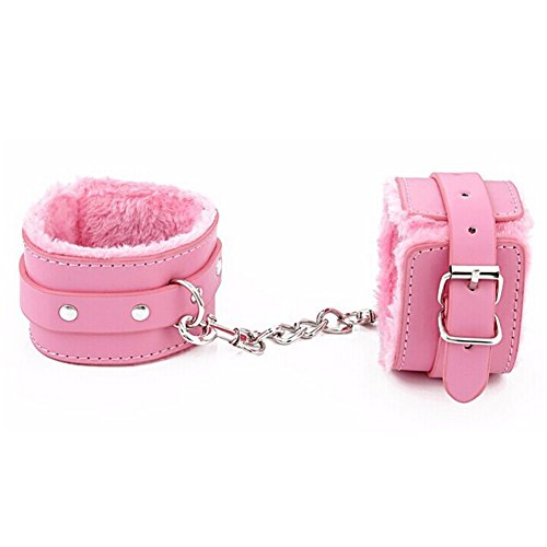 PU Leather Adjustable Soft Handcuffs Restrain Wristcuffs and Ankle Bracelets Toys (Pink)