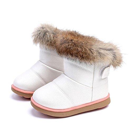 HUHU833 Kinder Mode Mädchen Baby Stiefel, Warme Watte Gepolsterten Schuhe Kaninchen-Haar Dicker Schnee Stiefel Warm Schuhe Weiß