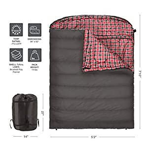 TETON Sports Mammoth +20F Double-Wide Sleeping Bag; Warm and Comfortable; Double Sleeping Bag Great for Family Camping; Compression Sack Included; Grey (Certified Refurbished)