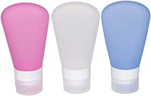 FNSHIP 3 Pack Portable Food Grade Squeeze Silicone Liquid Travel Bottles TSA Approved for Shampoo, Conditioner, Lotion, Toiletries, Condiments (1 OZ Pink + White + Blue)