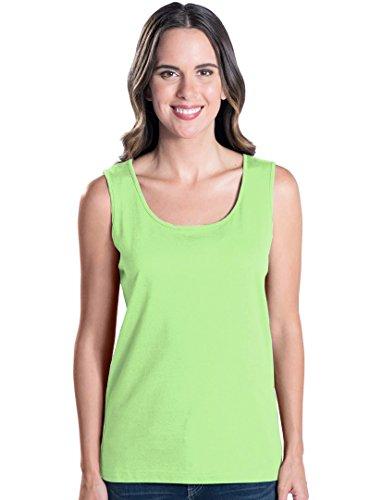 Green Sleeveless Cotton Shirt (LAT Apparel Ladies Sleeveless 100% Cotton Jersey Tank Top [Large] Key Lime Green Scoop Neck Tee)