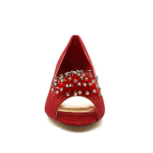 Chaussures La Mariage Talon De Peep Mariée Femmes De Diamante Partie Rouge Cour Chaton Toes Dames rwqrZFUA