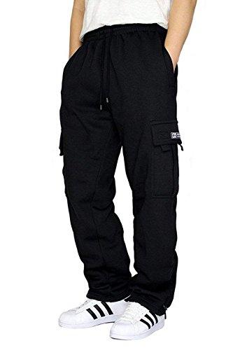 Pocket Velcro Two Additional - DREAM USA Men's Heavyweight Fleece Cargo Sweatpants, Black, Large