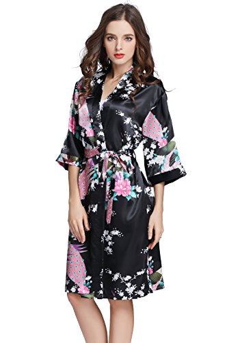 J.ROBE Women's Printing Lotus Kimono Robe Short Sleeve Silk Bridal Robe Black L