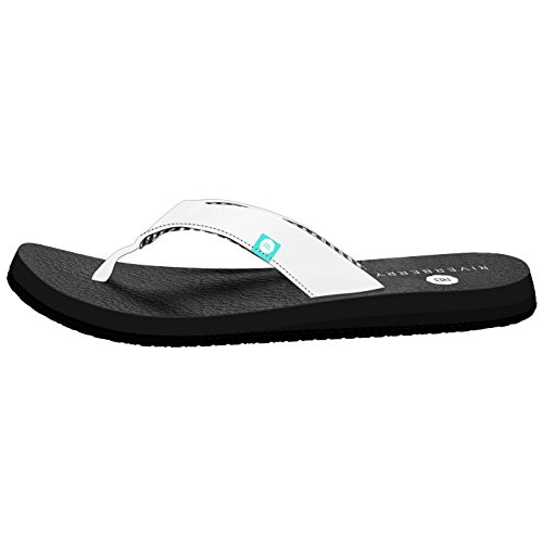 Riverberry Women's Yoga Flip Flop with Yoga Mat Padding, White, 8