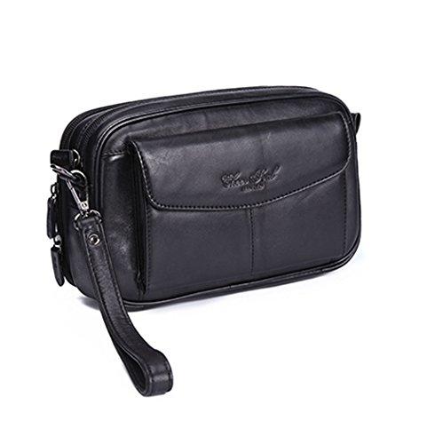 Hebetag Leather Clutch Purse Long Wallet for Men Phone Organizer Holder Wrist Bag Day Pack Business Handbag (Large Wrist Bag)