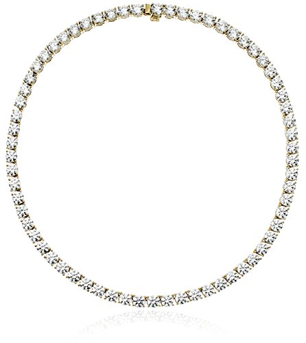 Yellow-Gold-Plated Sterling Silver and Swarovski Zirconia Necklace, 17
