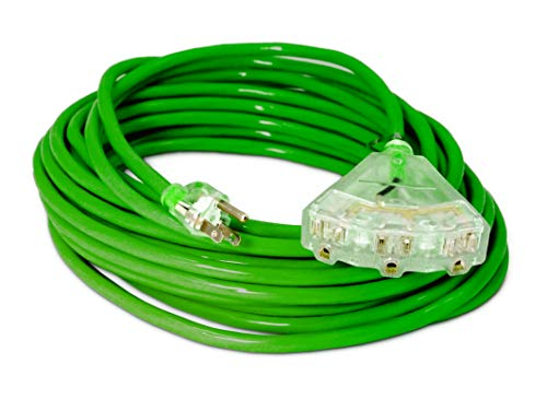 50-ft 14/3 Heavy Duty 3-Outlet Lighted SJTW Indoor/Outdoor Extension Cord by Watt's Wire - Green 50' 14-Gauge Grounded 15-Amp Three-Prong Power-Cord (50 foot 14-Awg)