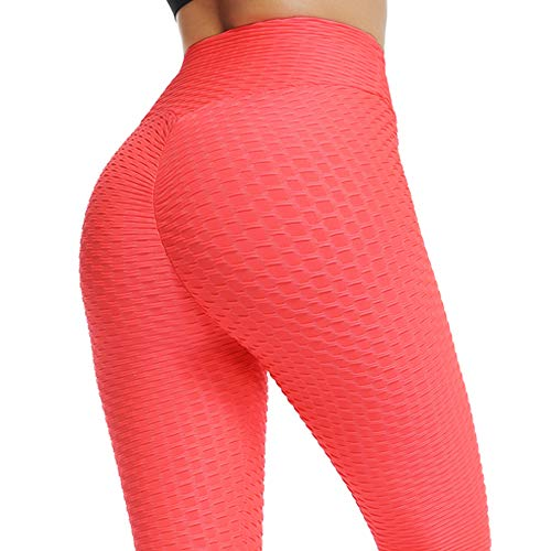 (FITTOO Womens High Waist Textured Workout Leggings Booty Scrunch Yoga Pants Slimming Ruched Tights Orange Pink XL )