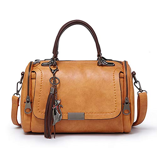 Women Mini Boston Bag with Tassel Top Handle Satchel Handbags Faux Leather Shoulder Purse - Brown - Handle Boston Bag