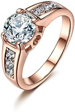 Forcolor Champagne Gold-Plated and White Cubic Zirconia Rings