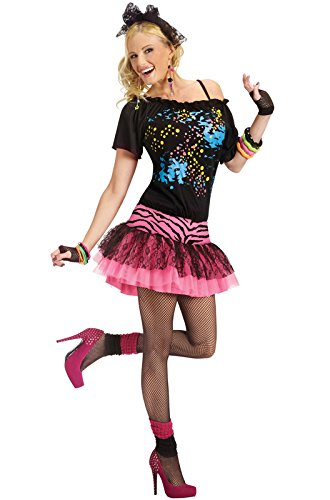 Fun World 80s Pop Party Diva Adult Costume Black,pink Medium/Large