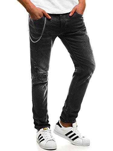 OZONEE Hombre Pantalones Vaqueros Pantalón Chándal Pantalones Deportivos Pantalones de Ocio Pantalón chándal Jogger Otantik 1805 Negro _ Ozonee B/8015