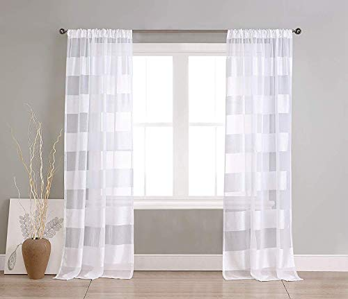 Home Maison Capricia Pole Top Horizantal Striped Linen Textured Window Curtain Pair Drape for Living Room & Bedroom-Set of 2 Panels, 37