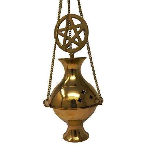 Om Brass Pentagram hanging censer incense burner thurible 19cm