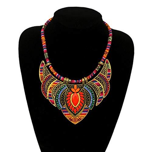 Heroic spirit Women Vintage Choker Pendants and Necklaces Large Boho Necklaces Ethnic Jewelry Bohemian Statement Tribal Orange bijoux Woman,Orange,45cm