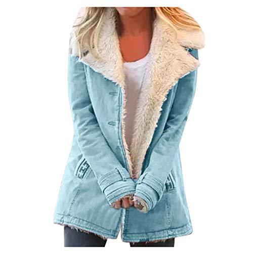 Women Plus Size Winter Warm Composite PlushButton Lapels Jacket Outwearcoat Hoodies Outerwear Coat Overcoat Blue