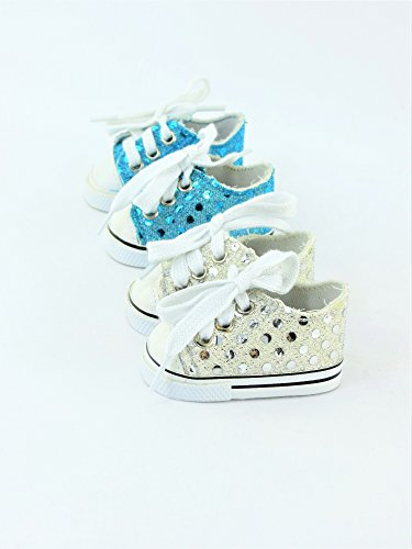 2 Pair Sequin Sneakers - Teal & Silver | Fits 18