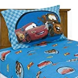 Disney Pixar Cars Full Size Sheet Set Lightning McQueen & Mater blue
