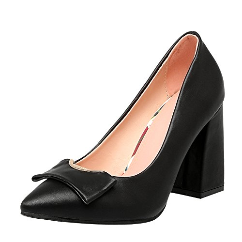 Zapatos De Tacón Alto Latasa Mujer's Pointed-toe Block High Dress Black