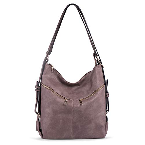 PU Leather Shoulder Bag for Women Large Capacity Handbag Convertible Backpack Hobo Tote Purse Casual Lilac Katloo