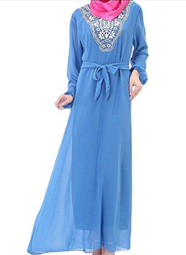 Blu Lunga Fit Musulmano Vestito Manica Stampata Comodi Floreale Sottile Femminile Ewqa6YH