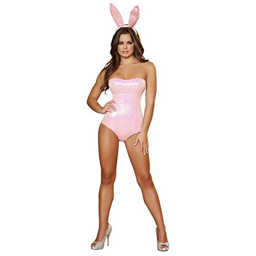 [MutterMui Bunny Costume Adult Sexy Rabbit Halloween Fancy Dress Pink Small] (Hugh Hefner Outfits)