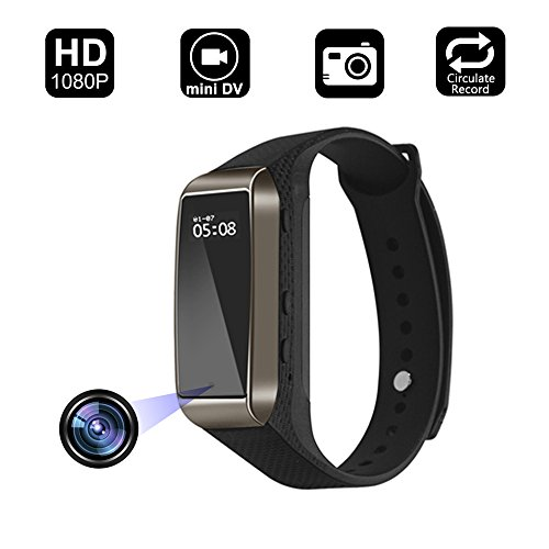 Aipinvip Smart Bracelet Hidden Camera, Surveillance Recording Camera 1080P HD, Wristband With Steps Calorie Counter, Smart Time Display For iOS&Android (Not included TF card) (Watch Camera Spy)