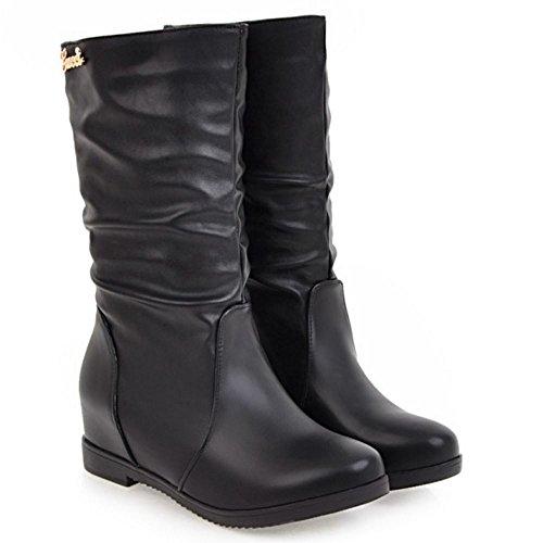 Flats Slouch Coolcept Women Low Boots Black Comfort Pull On Mid Calf wqwOIRxt